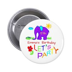 Elephant Child's Drawing Name & Age Birthday Button