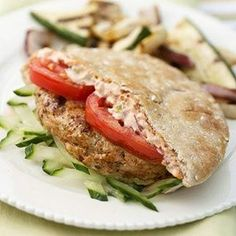 Greek Fusion Burgers- These turkey burgers revved up with chipotle chile peppers are ideal for diabetic meal plans. They're quick to make, so they're great for weeknight cookouts.