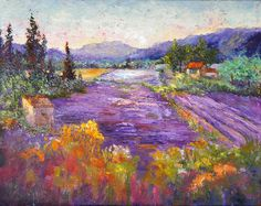 Impressionist Provence Landscape painting, Wonderful Lavender Provence - Original oil painting,  Knife painting, Impasto lavender fields