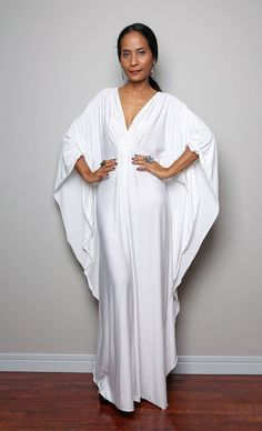 White Maxi Dress Kaftan Kimono Butterfly Dress Elegant by Nuichan, $59.00
