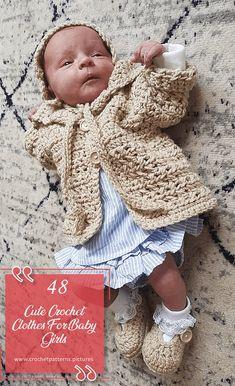 Mothers with baby girl should definitely check out the picture gallery of these crochet cute clothes. We are sure that these modern handmade clothes will give you an idea. Baby Girl Crochet, Crochet Baby Clothes, Newborn Crochet, Cute Crochet, Crochet For Kids, Crochet Outfits, Crochet Dolls, Baby Summer Dresses, Baby Dresses