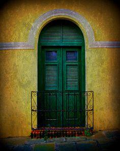 Vintage Arched Door, Old San Juan by Perry Webster
