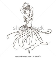 Ornament beautiful card with girl belly dance. Geometric element hand drawn…