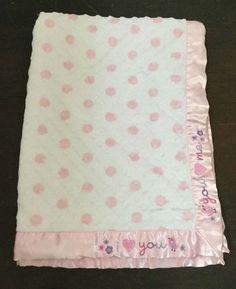 2418df546 Just Born I Love You Me Baby Blanket White Pink Heart Satin Trim Minky Dots  Bird