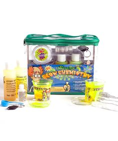 This glow chemistry lab set is all about the science of liquid lights. Kids get to make their own batch of glowing slime, grow atomic worms instantly, explore the science of things that glow and do more than 15 activities for hours of glowing fun.9'' W x 5'' H x 3.5'' DPlasticRecommended for ages 8 years and upImported