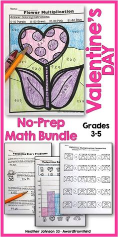 This Valentine No-Prep Math Packet for grades 3-5 will help keep your students learning during the excitement of the Valentine season. This packet is a great resource that provides a fun and meaningful way to help your students practice their math skills.