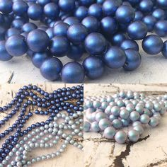 Just love the soft tones of the new Iridescent Dark Blue & Iridescent Light Blue Swarovski Pearls just arrived in store!
