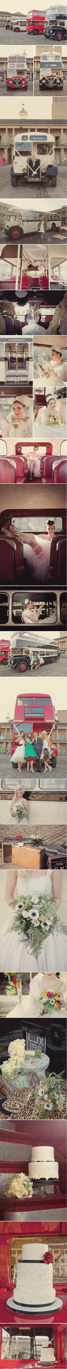 1950s Brides on a Bus - styled wedding shoot