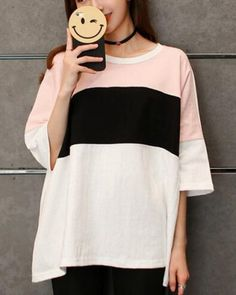 Striped color block t shirt for girls short sleeve