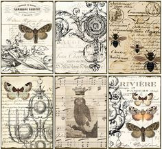 DiGital DowlOads ViNtaGe EpHeMera TaGs PaPer OwL BuTTerflieS PriNtaBle CollAge ShEEt VintAge LaBelS FreNch SCriPts StaiNed, No. 16. $3,50, via Etsy.