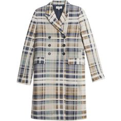PAUL & JOE Tartan Coat (1,490 CAD) ❤ liked on Polyvore featuring outerwear, coats, coats & jackets, asymmetrical coat, plaid coat, lapel coat, tartan coat and double-breasted coat