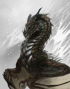 Black Dragon Fantasy Myth Mythical Mystical Legend Dragons Wings Sword Sorcery Art Magic