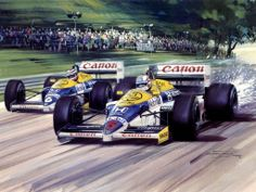Michael Turner  (b.1934)  —   Mansell and Piquet British GP 1986 (1024×768) (1024×768)