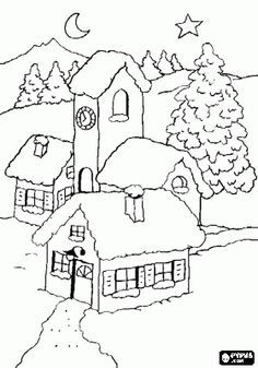 houses in winter Punch Needle Patterns, Applique Patterns, Quilt Patterns, Christmas Embroidery, Hand Embroidery, Embroidery Designs, Christmas Coloring Pages, Coloring Book Pages, Christmas Colors