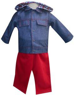 Chamarra de mezclilla con capucha de franela y pantalón de felpa. Tallas 3, 6, 12 y 18 meses.