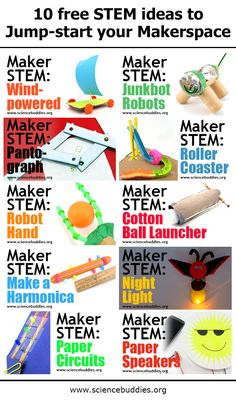 Start or add to your student #makerspace with 10 free, fun, and simple science and engineering projects. Many of these #STEM activities use cardboard, craft materials, and recycled supplies!    #maker #scienceproject #maker #DIY #scienceteacher #engineering #STEAM #creativeSTEM #scienceactivity #robotics