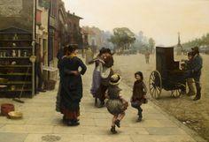 pmikos: Professor Frederick Brown, NEAC An impromptu dance, a scene on the Chelsea Embankment, 1883. British 1851-1941 (by hauk sven)