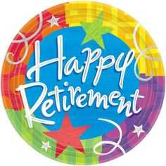 Happy Retirement Paper Dinner Plates 10.5in 8ct