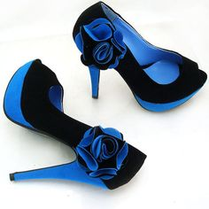 roses are blue... sexy black and blue open toe platform heels with blue flowers on the side