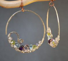 Cleopatra 97 Hammered hoops with peridot by CalicoJunoJewelry, $98.00