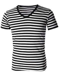 Mens Casual Wide Striped V-Neck Short Sleeve Tee Shirt Casual Shirts For Men, Men Casual, Blazer Fashion, Men's Fashion, Fashion Menswear, Wide Stripes, Designer Clothes For Men, Well Dressed Men, Short Sleeve Tee