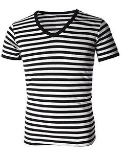 FLATSEVEN Mens Casual Wide Striped V-Neck Short Sleeve Tee Shirt (TV1002) Black, XL FLATSEVEN http://www.amazon.com/dp/B00KYELCIQ/ref=cm_sw_r_pi_dp_bol0ub1MDVYZK #FLATSEVEN #men #fashion #T-shirts