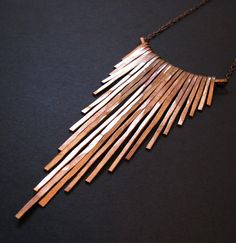 Copper Necklace  Fringe Necklace  Cascading Bars  by jamiespinello,