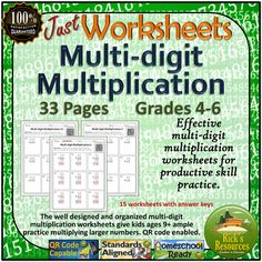 A  collection of Multi Digit multiplication worksheets perfect for school or homeschool settings.Provides effective practice for multiplying larger numbers. QR code capable. Detailed answer keys included. Resource Details  Students often have difficulty with multiplying larger numbers.