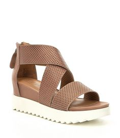 Steven by Steve Madden NC-Klein Perforated Platform Wedge Sandals Types Of Sandals, Types Of Shoes, Sport Sandals, Women's Shoes Sandals, Adidas Slides Outfit, Platform Wedge Sandals, Shoes Uk, Water Shoes, Dillards