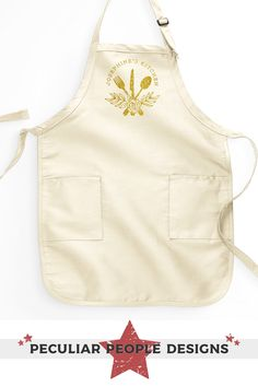 An oh-so-pretty kitchen apron for women. Whether you're on the hunt for a cute hostess gift, custom cooking gift with a personalized name, or a customized, ladies apron for a chef, this adorable floral silverware apron has got you covered! Fully customizable with a choice of apron color and choice of decoration finish; Glam it up with glitter! Apron styles are subject to availability. We use the long, rounded bottom and butcher style apron interchangeably depending on what's in stock. If you…