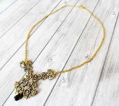 Flowers and teardrop, retro fantasy wedding, golden necklace Mi Long, Art Nouveau, Gold Necklace, Floral, Etsy, Jewelry, Black Glass, Printmaking, Gout