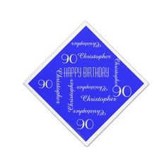 Royal Blue 90th Birthday Party Repeat Names, Paper Napkin