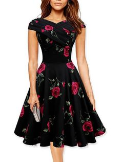 Knee Length Pleat Swing Floral A Line V-Neck Elegant Dress Plus Size on fashionsure.com
