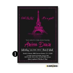Eiffel Tower Baby Shower Invite. Paris Baby Shower Invitation. It's a Girls Shower. French Theme Invite. Hot Pink Glitter Black BS 175 by 800Canvas on Etsy