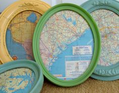 Oval Framed Vintage Road Maps