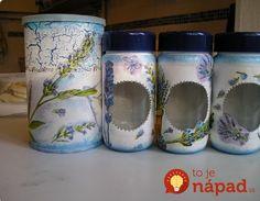 Vzala pohár na zaváranie a staré noviny: Čo vyrobila je jedným slovom úchvatné! Diy Home Crafts, Jar Crafts, Bottle Crafts, Bottles And Jars, Glass Jars, Mason Jars, Bottle Painting, Bottle Art, Decoupage Jars