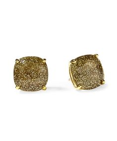 Gold glitter stud earrings.