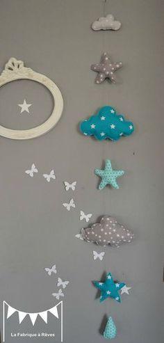 guirlande suspension étoiles nuage goutte turquoise lagon gris - décoration chambre bébé garçon turquoise gris étoiles nuages goutte