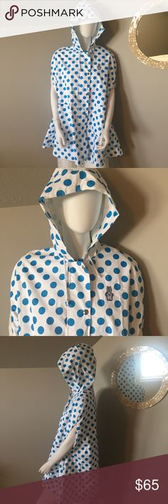 Lesportsac X Peter Jensen polka dot rain poncho Designed by peter Jensen for Lesportsac. Blue polka dot rain poncho. Zips and snaps down front. Hooded with round pockets. Bunny insignia on front. New without tags. Lesportsac Jackets & Coats