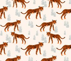 Safari Tiger - Cadmium Orange/Slate Grey/Champagne by Andrea Lauren fabric