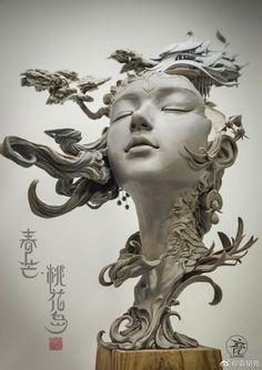 Les superbes Sculptures qui transforment les Cheveux féminin en Paysage surréaliste de Yuan Xing Liang (1)