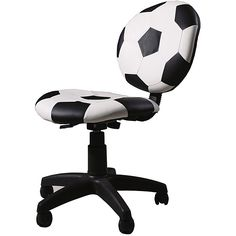 This kid's office chair is the perfect addition to your home office, child's study area, or even a dorm room. Adorned with a black-and-white soccer ball made from durable PVC and plastic, this sturdy chair will look great and stand the test of time.