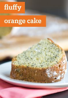 Fluffy Orange Cake – Orange juice adds a burst of citrus flavor to a yellow cake mix. Baked in a tube pan, this luscious cake is dusted with powdered sugar before serving.