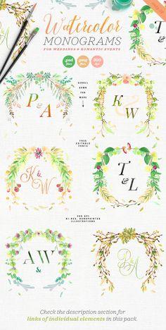6 Watercolor Wedding Monograms III by The Wedding Shop on @creativemarket