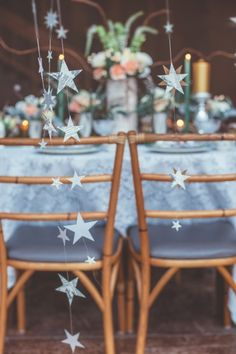 maybe hang stars behind the couple? maybe on the hell-filled baloons Moon Wedding, Celestial Wedding, Star Wedding, Hanging Stars, Hanging Lights, Baby Orchid, Reception Decorations, Table Decorations, Moon Party