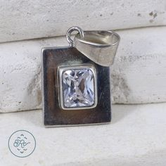 Sterling Silver Bold Studded Flower Rectangle Pendant Clear Simulated CZ Charm