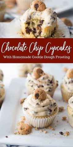 Chocolate chip cupcakes with a cookie dough frosting are going to blow your mind Light moist and tasty homemade chocolate chip cupcakes ediblecookiedoughfrosting cupcakes easy homemade chocolatechip vanilla cookiedough Homemade Cookie Dough, Cookie Dough Frosting, Cookie Dough Cupcakes, Homemade Cookies, Homemade Cupcake Recipes, Desserts With Cookie Dough, Unique Cupcake Recipes, Summer Cupcake Recipes, Buttercream Frosting