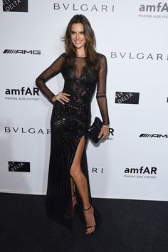 Alessandra Ambrosio looked beautiful in #Versace this evening at the amfAR gala in Milan #VersaceCelebrities