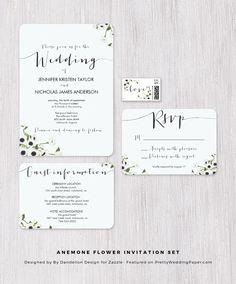 Anemone Flower Soft White Wedding Invitation Collection designed by By Dandelion Design.