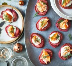 Make these salmon, buckwheat and spelt chrain blinis ahead and heat them up as a hassle-free party canapé or plated as a starter. They freeze really well, too Smoked Salmon Pate, Smoked Trout, Christmas Canapes, Christmas Recipes, Christmas Ideas, Christmas Gifts, Holiday, Bbc Good Food Recipes, Yummy Food